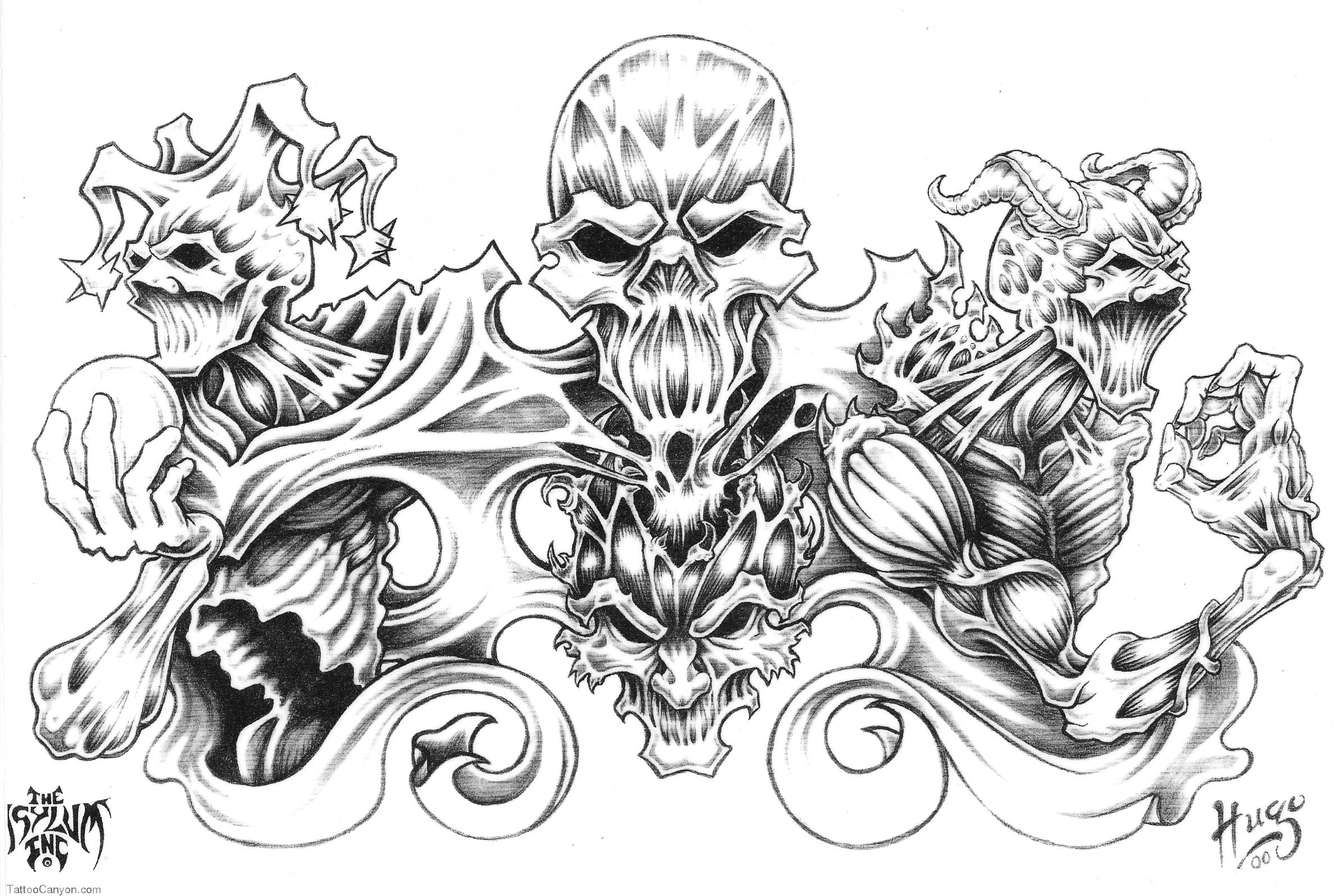 Tattoo Background Designs Demon Tattoo Designs Over