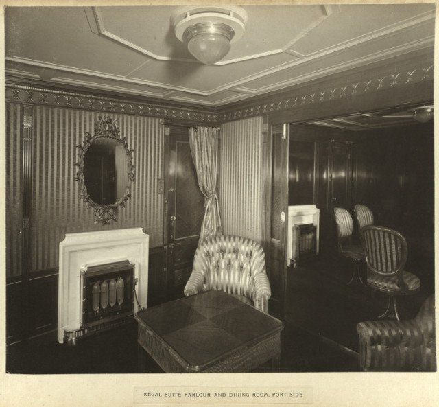 Regal suite parlour and dining room, port side