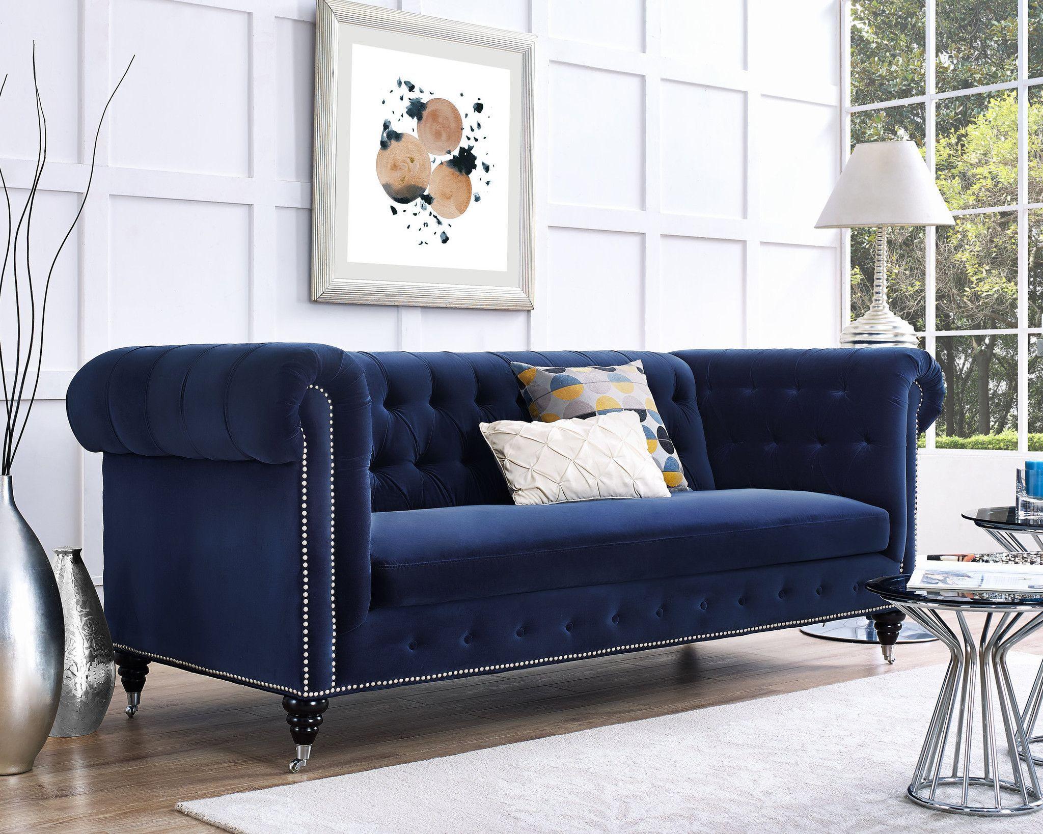 Hanny Navy Blue Velvet Sofa Velvet Sofa Living Room Blue Velvet Sofa Sofa Design
