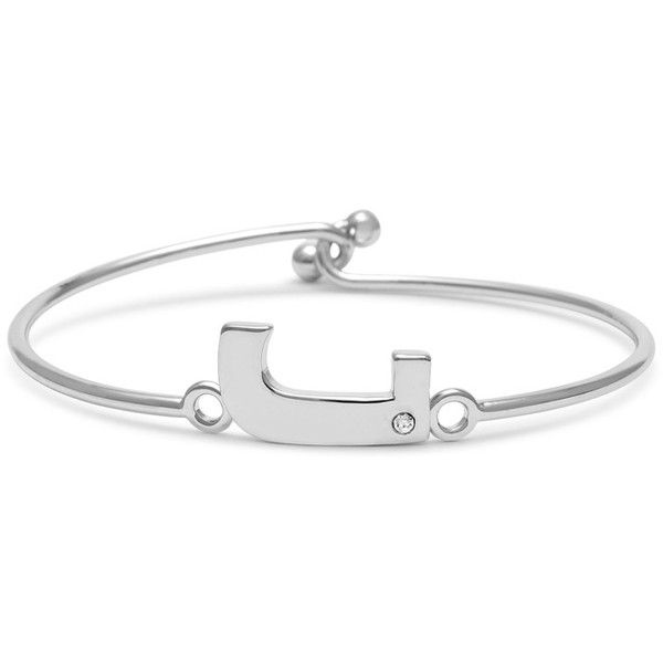 Passiana J Initial Bangle Bracelet With Cubic Zirconia Accent (43 CAD) ❤ liked on Polyvore featuring jewelry, bracelets, cubic zirconia jewelry, bracelets bangle, initial jewelry, bangle bracelet and initial bangle