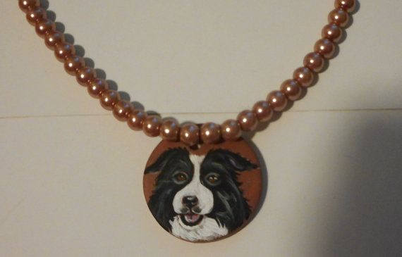 Border Collie Dog Faux Pearl Necklace by daniellesoriginals