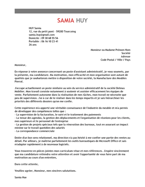 Exemple De Lettre De Motivation Assistant Administratif Modele