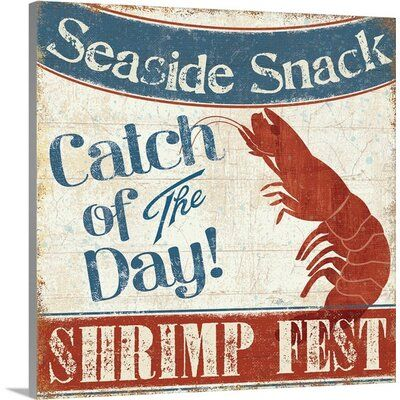 "Photo of Great Big Canvas 'Fresh Seafood III Vintage Annonsestørrelse: 12 ""H x 12"" B x 0.75 ""D, Format: Canvas"