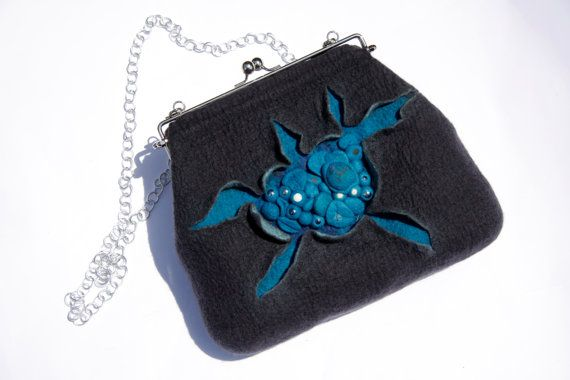 Wet felted dark grey and cobalt blue frame purse with silver metal chain OOAK, ready to ship