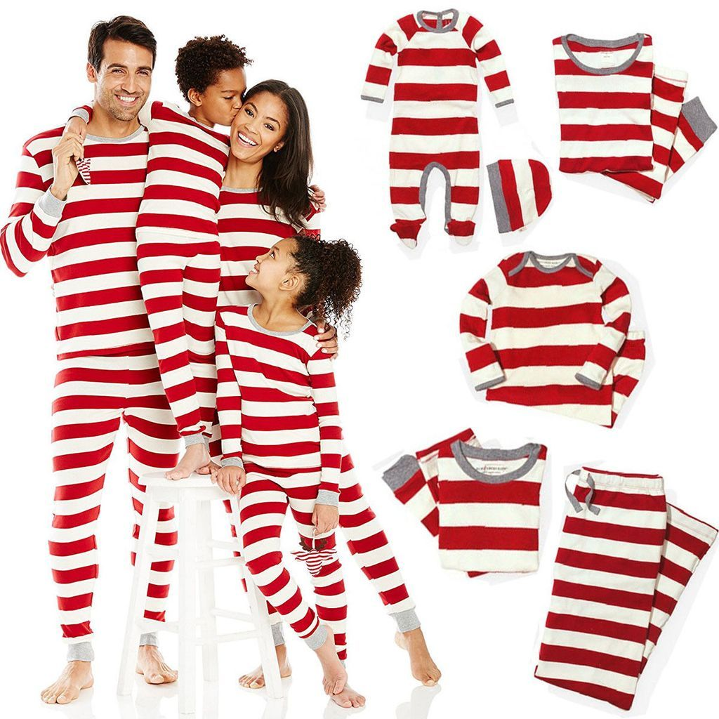 Red and White Striped Family Matching Pajams Set Christmas