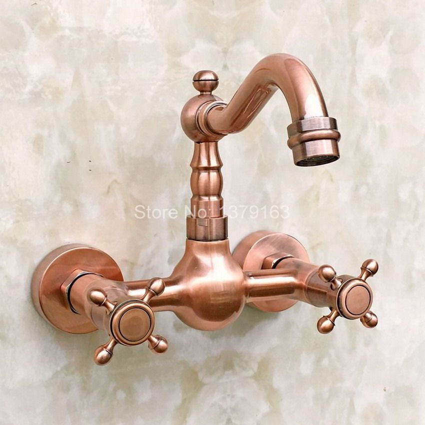 Antique Red Copper Wall Mounted Kitchen Sink Faucet Mixer Basin Tap Dual Cross Handles Levers Arg030 Kitchen Sink Faucets Copper Wall Sink Faucets