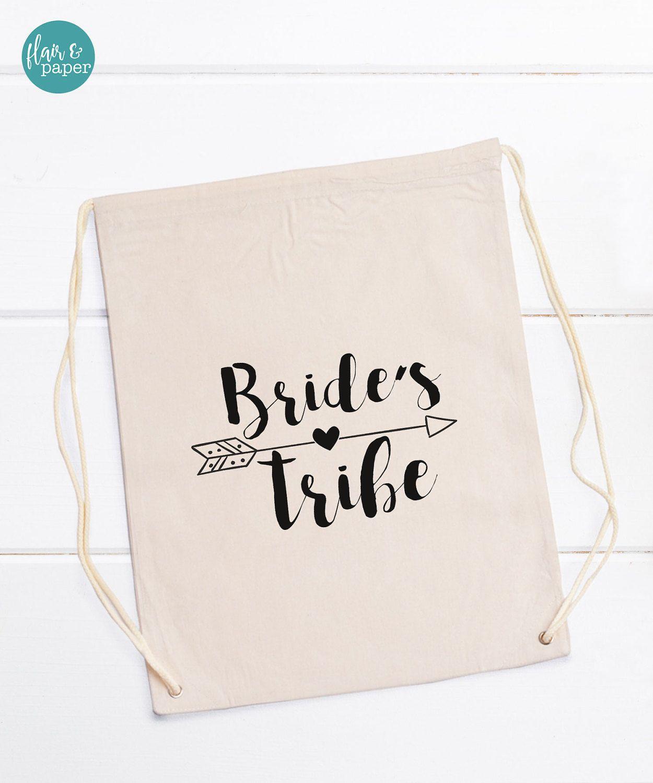 Bridal Drawstring Bag, Bride Tribe drawstring bag, Bride bag ...