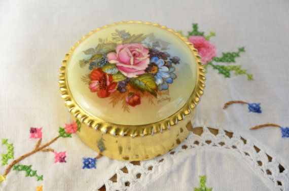 Aynsley bone china jewelry box JA Bailey signed Aynsley porcelain