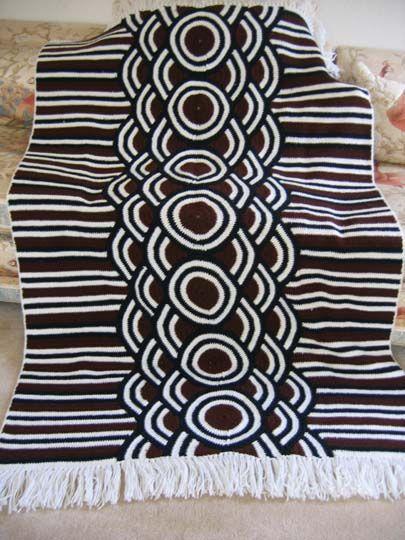 Crochet Afghan Nice Graphic Geometric Pattern Afghan