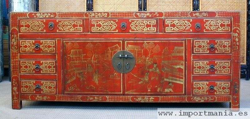 Muebles de estilo oriental poca colonial de color rojo for Muebles de epoca