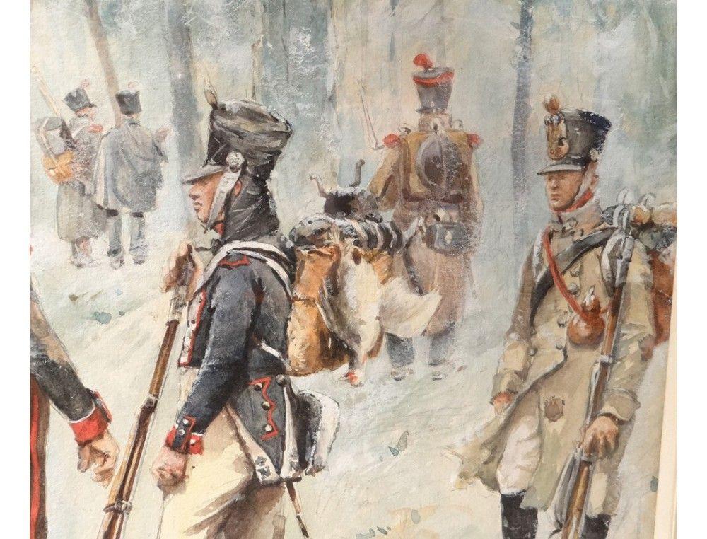 Dessin aquarellé soldats infanterie Blocus Bayonne 1814 Ernest Fort
