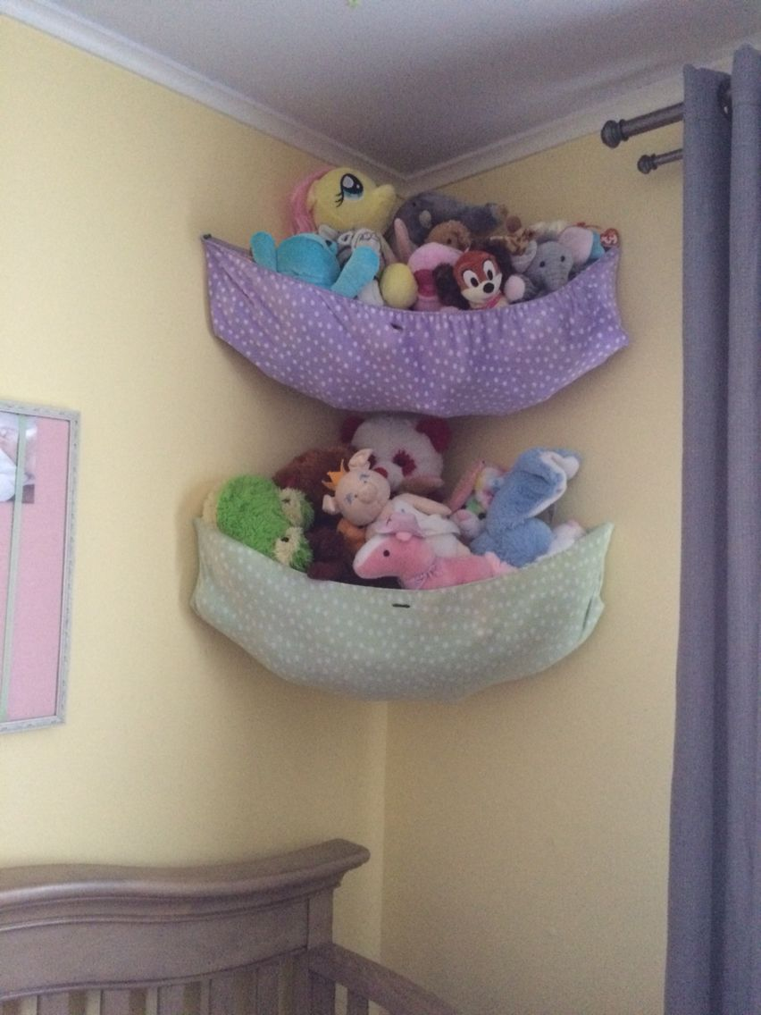 Turn your old changing table sheets into a hammock for your stuffed