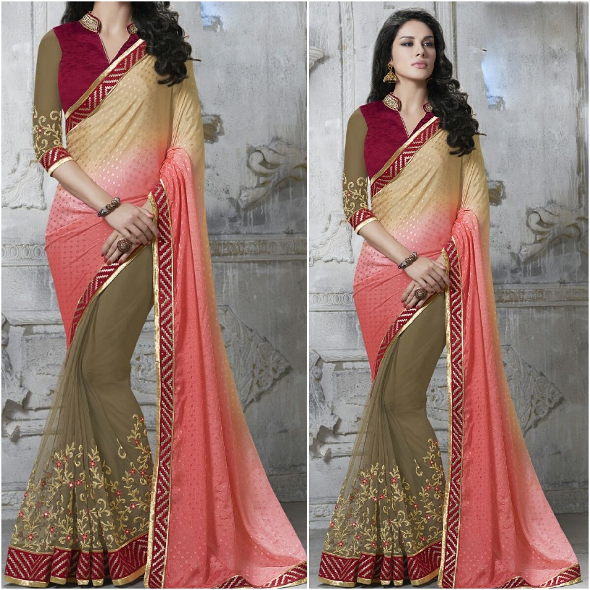 Cream and pink with Designer Blouse Product Number:NRNS-MDR8820