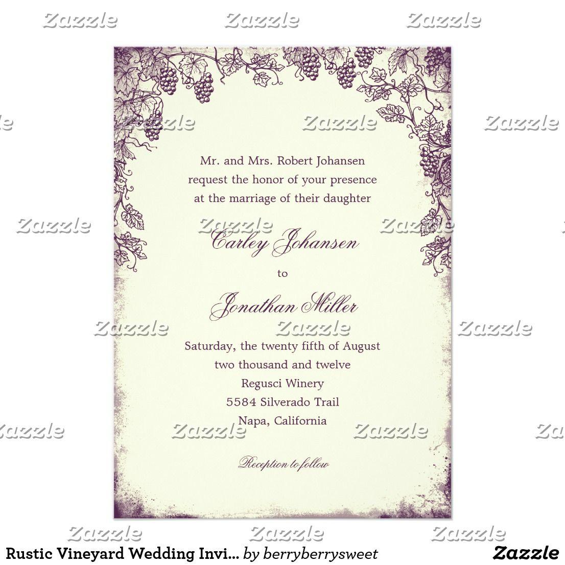 Rustic Vineyard Wedding Invitation - Purple | Country Wedding ...