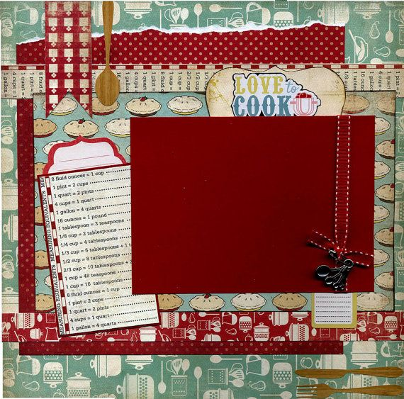 12x12 page includes a mix of coordinating printed cardstock ribbon love to cook sticker