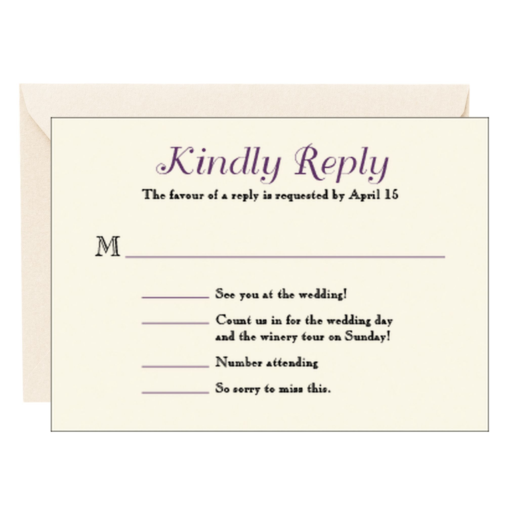 Leaves Wedding Response Card with casual form for guests to reply ...