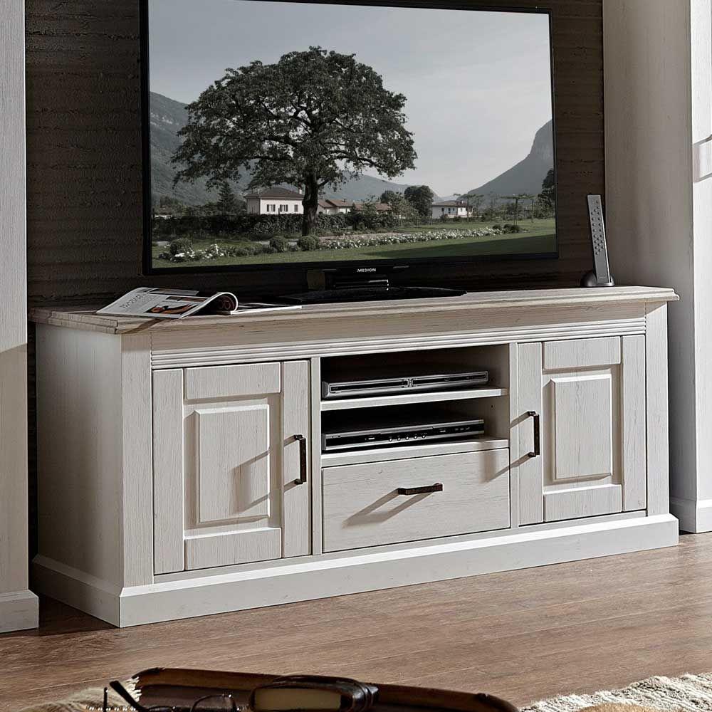 TV Unterschrank in Weiß Taupe skandinavischer Landhausstil Jetzt ...