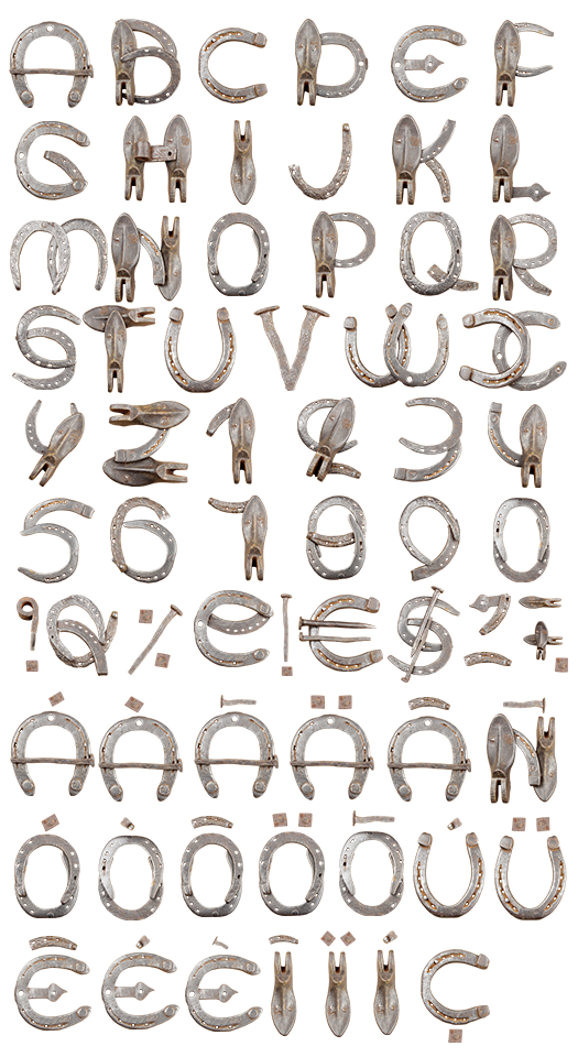 Horseshoe Font Lucky Font For Wild West Ride  Typography Letters
