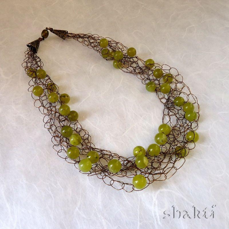 wire crochet jewelry   Peridot Wire Crochet Necklace - Shakti ...