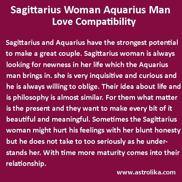 how is the relation between a sagittarius woman and an aquarius man