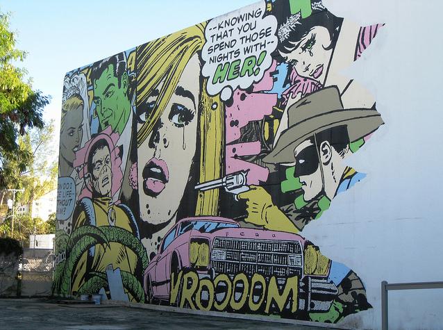 Comic book style miami mural graffiti tags on pinterest for Comic book mural