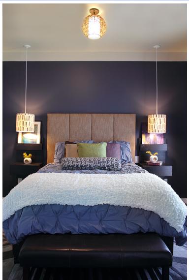 Dark dusty lavender-gray bedroom.