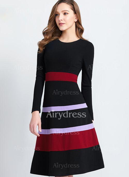 1a2a961cde Vestidos Poliéster Elegante Hasta las rodillas Manga larga Bloque de color  (1097051)