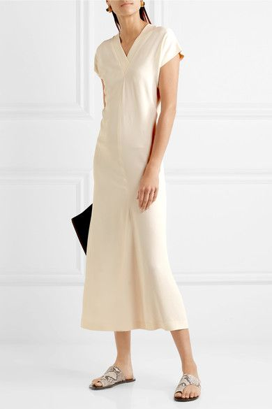 Satin Midi Dress - Ivory Helmut Lang