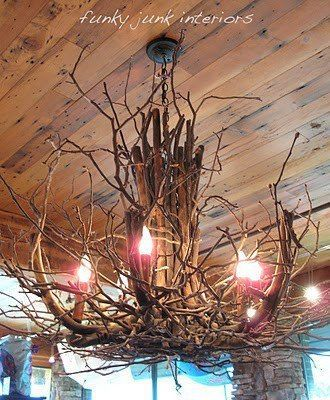 Diy Drift Wood Chandelier Crafted From Roots And Branches Via Funky Junk Interiors Diy Chandelier Twig Chandelier Twig Crafts