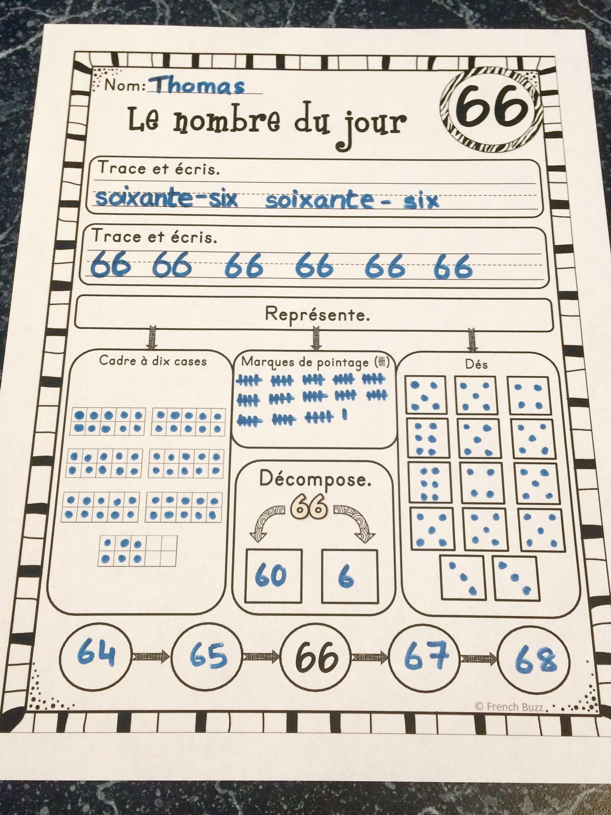 Nombre Du Jour Les Nombres 1 100 Ensemble French Numbers