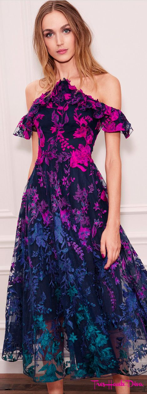 Marchesa Notte Spring 2018 RTW black and rainbow floral cocktail ...