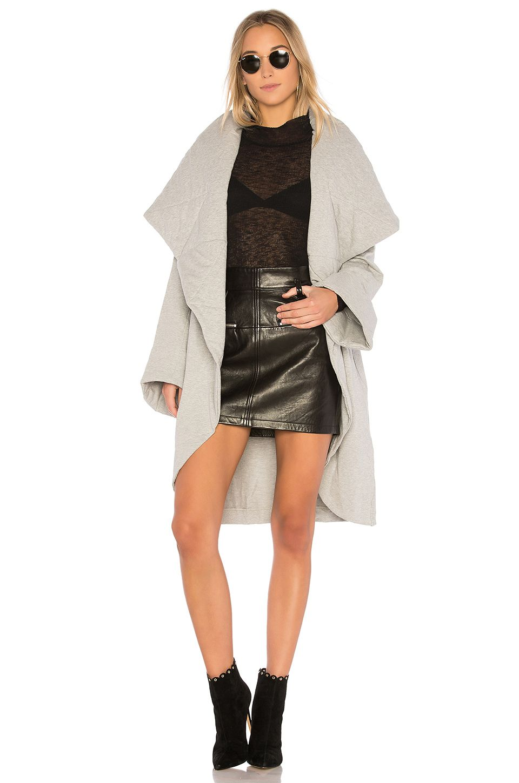Norma Kamali Shawl Collar Coat in Heather Grey