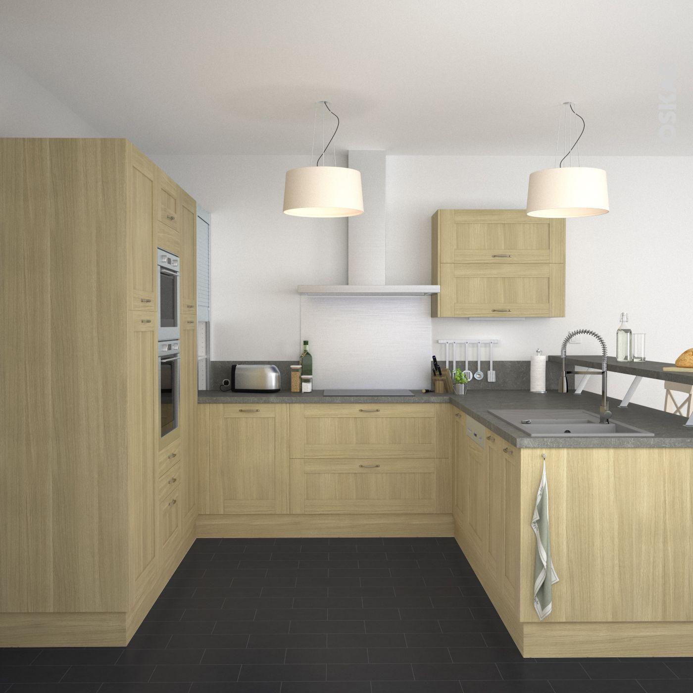 Cuisine campagne meubles de cuisine en bois brut plan de for Meuble de cuisine gris clair