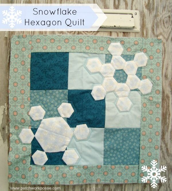 Winter Snowflake Hexagon Quilt Tutorial - | Hexagon quilting ... : hexagon quilt pattern free - Adamdwight.com