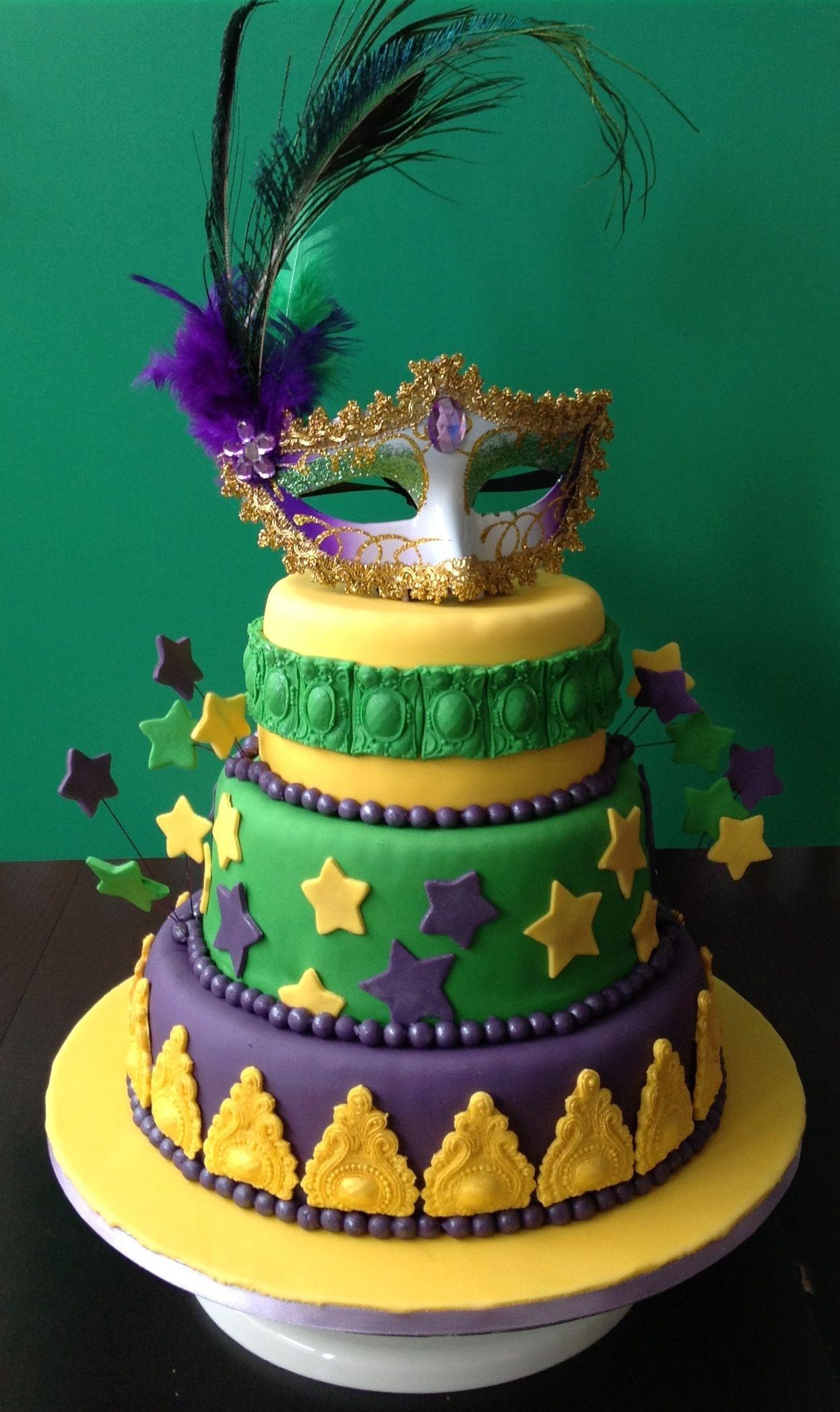 Mardi Gras Birthday Cake Vanillestokje Mardis Gras