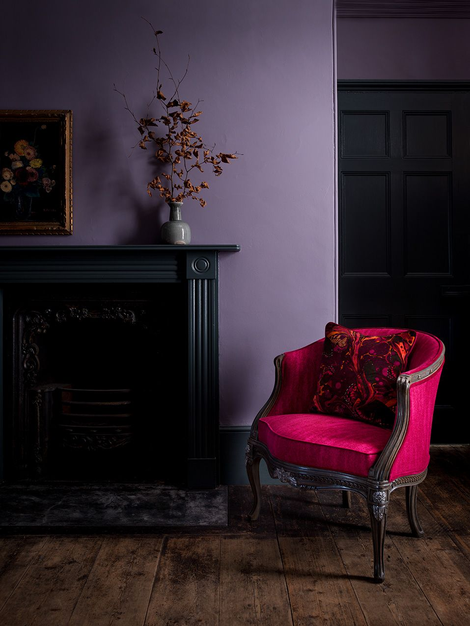 marianne boudoir chair in mistral fuchsia with marble butterfly rh pinterest com
