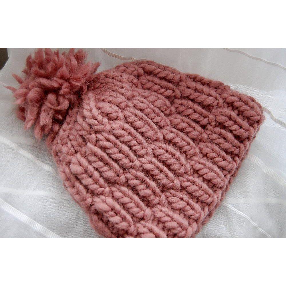 Really warm hat - free pattern - yarn: Cascade Magnum, Twinkle Soft Chunky - Dusty Pink