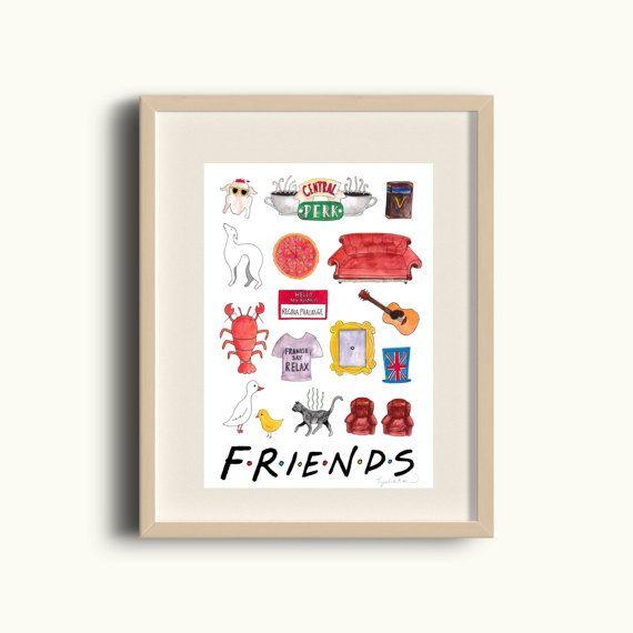 Friends TV Show Print - FRIENDS Art Home Decor - A5 printed on ...
