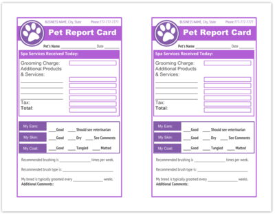 Pet Report Card Templates For Dog Groomers Dog Grooming Pet Report Card Printable And An Edit Dog Grooming Business Pet Grooming Business Dog Grooming Salons