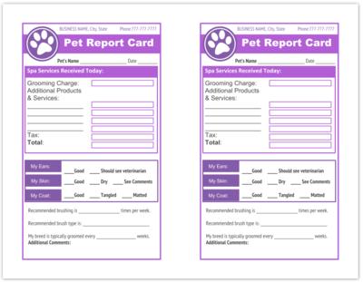 Dog Grooming Receipt Templates Printable Pdf Dog Grooming Report Card Template Pet Grooming Business