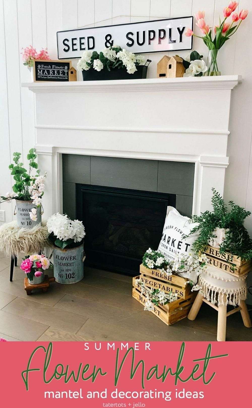 Flower Market Summer Mantel and Decorating Ideas1 images