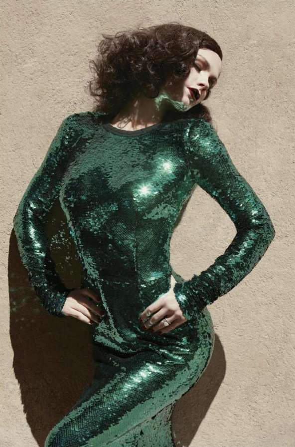 Green. Sequins. Fashion. Editorial. Repinned by www.fashion.net