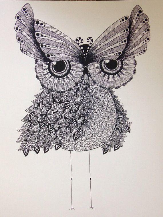 Free gift w/ purchase zentangle owl / 11 X 14 / by SleepyEyeStudio