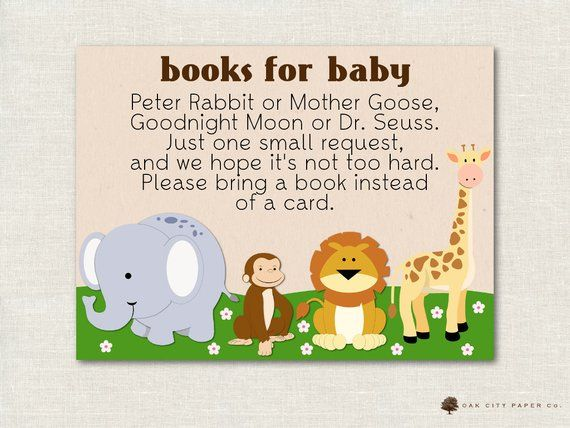 Safari Animal Books For Baby Jungle Bring A Book Instead Of Etsy Animal Books Safari Animals Baby Shower Book