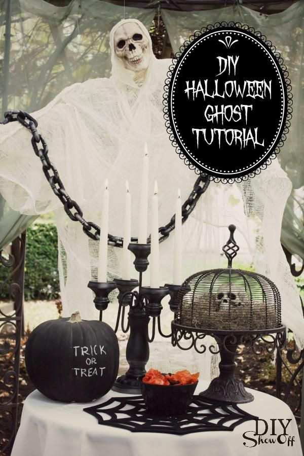 DIY Halloween  DIY chicken wire cheesecloth Halloween ghost DIY - halloween decorations on pinterest