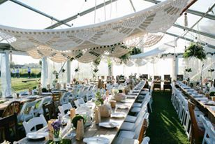 Flowers: Piccolo & Poppi Styling: Piccolo & Poppi  Venue: Driftwood Shed. Photographer: Sehr gut josh Marquee, tables and white chairs: South Coast Party Hire