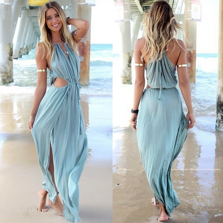 Sexy women\'s sleeveless beach sundress split bohemia maxi long dress ...