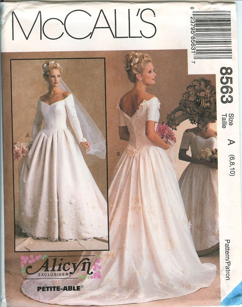 McCalls 8563 Alicyn Bridal Wedding Gown Dress sewing pattern UNCUT ...