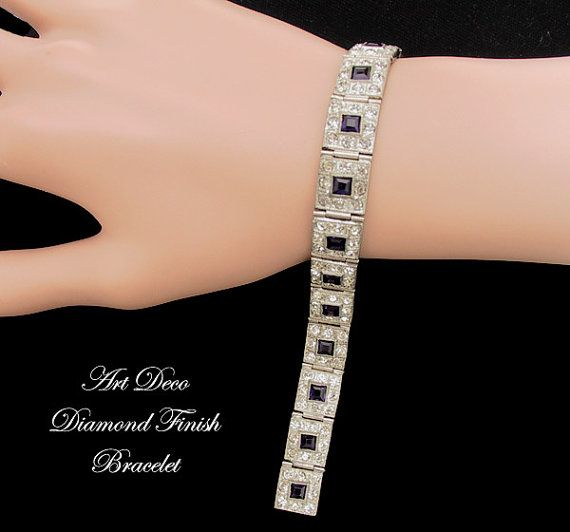 Art Deco Bracelet Diamond Finish Rhinestone Bracelet Art Deco Jewelry Wedding Jewelry $110.00 at https://www.etsy.com/listing/174969478/art-deco-bracelet-diamond-finish #ArtDeco #vintage