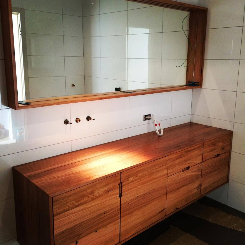 Vanity Bathroom Bench love this timber vanity and mirror | bathroom renovation